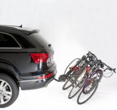MOTTEZ - Porte-vélos sur attelage, basculable, 4 vélos suspendus fixation sur boule d'attelage - A009P4RA