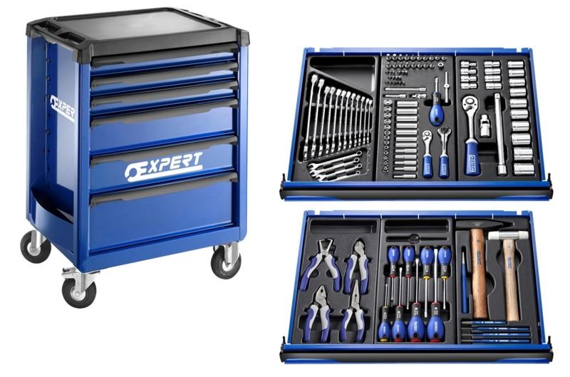 EXPERT - Servante 6 tiroirs avec composition 123 outils - E220310