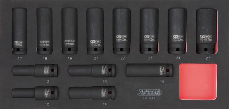 """KSTOOLS - Module de douilles longues à chocs 1/2"""", 13 pièces - 713.1030"""