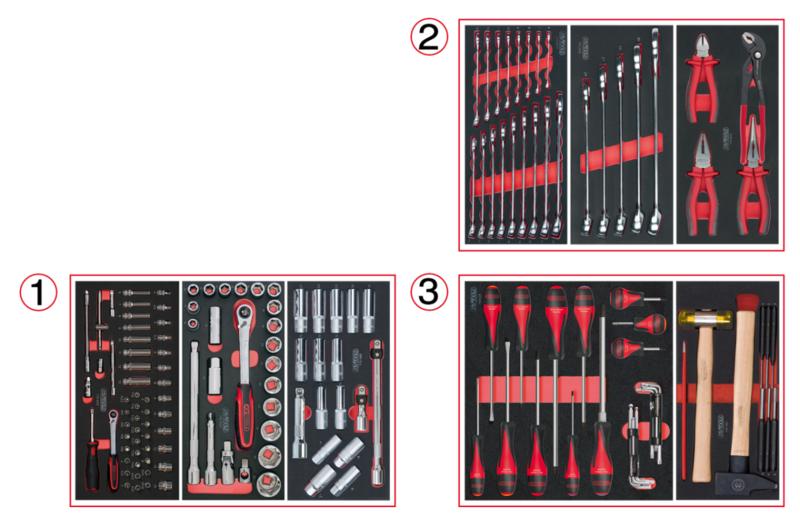 KSTOOLS - Composition d'outils 3 tiroirs pour servante, 158 pièces - 714.0158