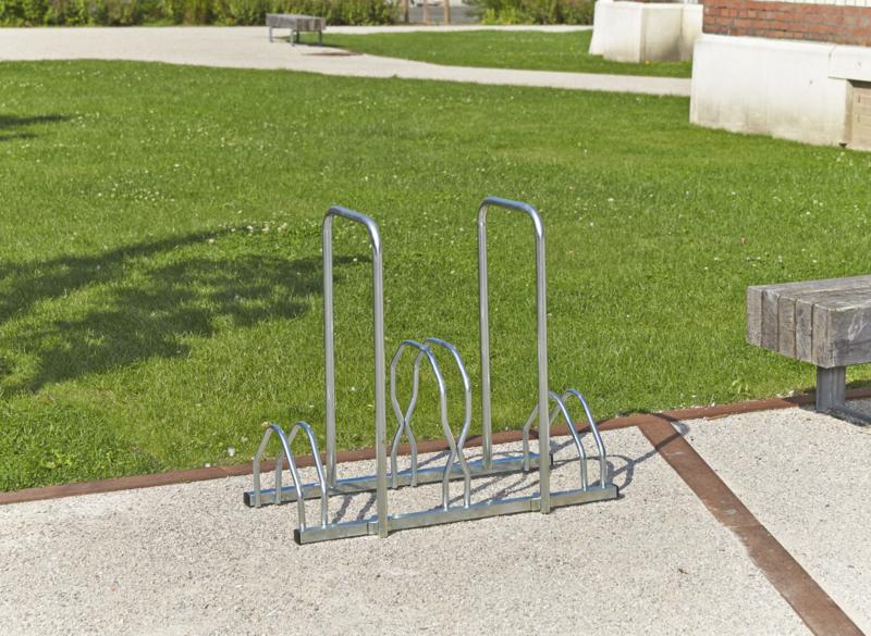 MOTTEZ - Râtelier 3 vélos sur 2 niveaux avec 2 arceaux pour antivol - B129V3AR