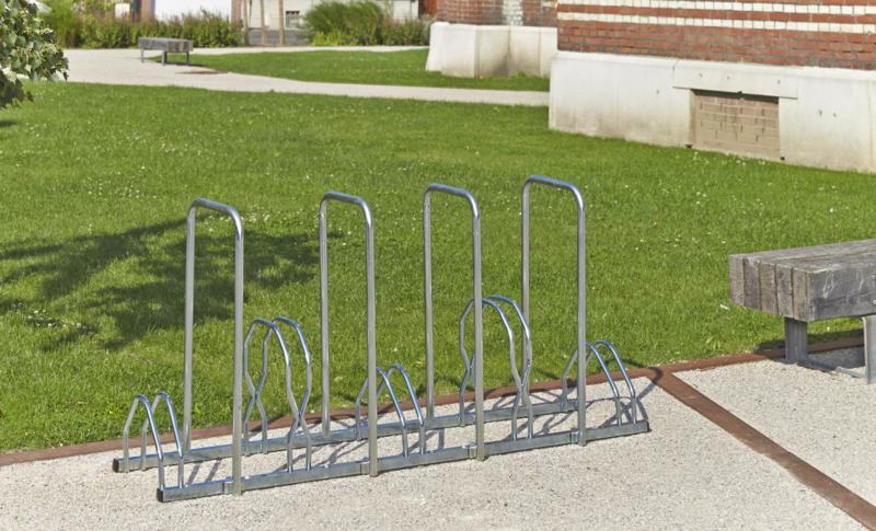 MOTTEZ - Râtelier 5 vélos sur 2 niveaux avec 4 arceaux pour antivol - B129AR