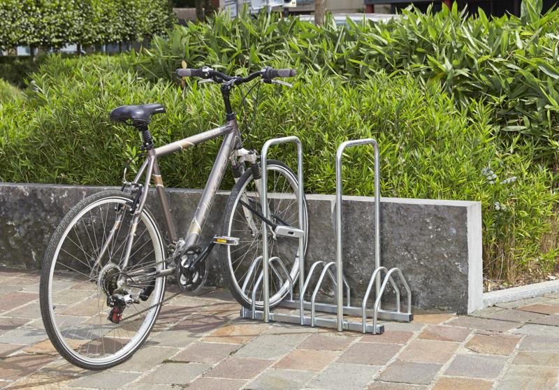 MOTTEZ - Râtelier 3 vélos avec 2 arceaux pour antivol - B135AR