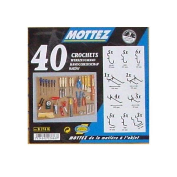 MOTTEZ - Lot de 40 ccrochets universels pour panneau perforé - B274B