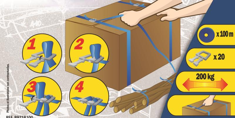 MOTTEZ - Kit de cerclage : Composé d'un rouleau de 100m + 50 boucles pour + ou - 20 cartons - B971B100