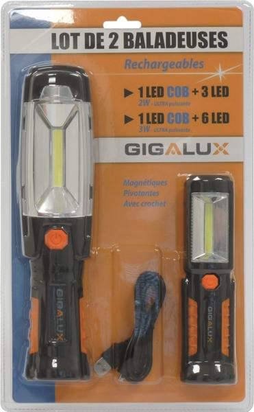 TOPCAR - Baladeuses LED rechargeables (le lot de 2) - 02164